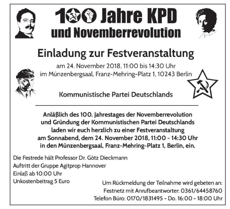 100 Jahre KPD Einladung